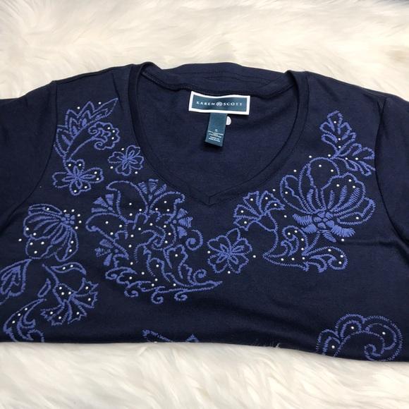 NEW Karen Scott Top Shirt Plus Size 2X Cotton Embellished T Intrepid Blue $22